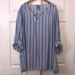 Catherines Blue Striped Blouse sz 30/32